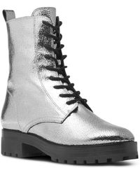 Michael Kors - Collection Women's Gita Crackled Metallic Leather Combat Booties - Lyst