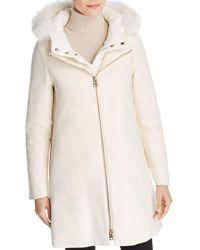 Herno - City Glam Fur Trim Coat - Lyst