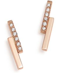 Zoe Chicco - 14k Rose Gold Staggered Bar Stud Earrings With Diamonds - Lyst