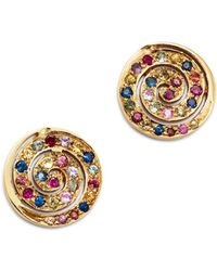 Shebee - 14k Yellow Gold Multicolor Sapphire Spiral Stud Earrings - Lyst