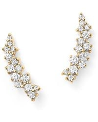 Bloomingdale's Small Diamond Scatter Ear Climbers In 14k Yellow Gold - Metallic