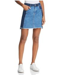 French Connection - Laos Denim Skirt In Two-tone Blue - Lyst