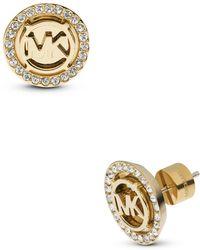 Michael Kors | Pavé Mk Logo Stud Earrings | Lyst