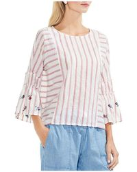 Vince Camuto - Floral Embroidered Stripe Bell Sleeve Top - Lyst