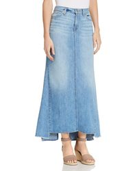 7 For All Mankind - Denim Maxi Skirt In Bright Blue Jay - Lyst