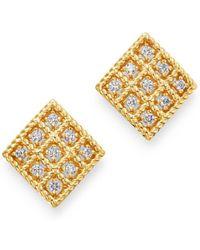 Roberto Coin - 18k Yellow Gold Byzantine Barocco Diamond Earrings - Lyst