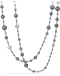 David Yurman - Bijoux Bead Link Dyed Gray Cultured Freshwater Pearl Necklace With Hematine And Rhodolite Garnet - Lyst