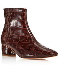 LOQ - Women's Matea Almond Toe Croc-embossed Leather Mid Heel Booties - Lyst