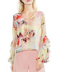 Vince Camuto - Faded Bloom Ruffle Bell Sleeve Blouse - Lyst