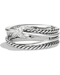 David Yurman - X Crossover Ring With Diamonds - Lyst
