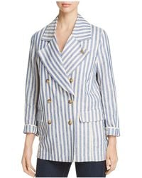 Scotch & Soda - Striped Double-breasted Linen Coat - Lyst