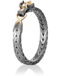 John Hardy - Sterling Silver & 18k Bonded Gold Legends Naga Medium Bracelet With Black Rhodium & Blue Sapphire Eyes - Lyst