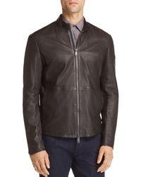 Armani - Emporio Leather Zip Up Jacket - Lyst