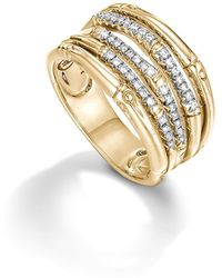 John Hardy - Bamboo 18k Yellow Gold Diamond Pavé Wide Ring - Lyst