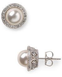 Nadri - Simulated Pearl Stud Earrings - Lyst
