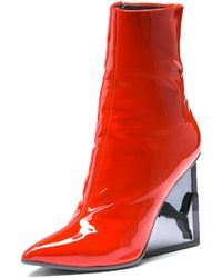 PUMA - Women's Patent Leather Cat Wedge Booties - Lyst