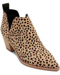 05effe34e Lyst - Sam Edelman Karen Leopard Print Calf Hair Pointed Toe Booties ...