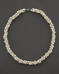 """Bloomingdale's - Cultured Freshwater Pearl Woven Necklace In 14k White Gold, 18"""" - Lyst"""