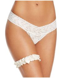 Hanky Panky | Pearl & Bow Ruched Garter | Lyst