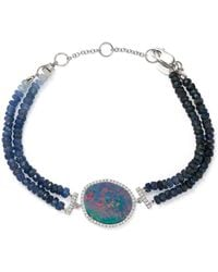 Meira T - 14k White Gold Sapphire Beaded Bracelet With Opal And Diamonds - Lyst