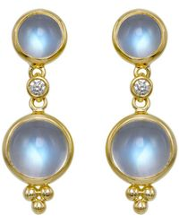Temple St. Clair - Double Drop Earrings With Royal Blue Moonstone And Diamonds In 18k Yellow Gold - Lyst