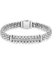 Lagos - Sterling Silver Caviar Spark Diamond Bar Station Bracelet - Lyst