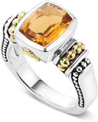 Lagos - 18k Gold And Sterling Silver Caviar Colour Small Citrine Ring - Lyst