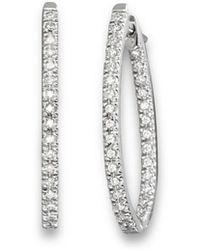Bloomingdale's - Inside Out Diamond Hoop Earrings In 14 Kt. White Gold - Lyst