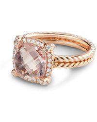 David Yurman - Chatelaine Pavé Bezel Ring In 18k Rose Gold With Morganite - Lyst