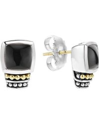 Lagos - 18k Gold And Sterling Silver Caviar Colour Onyx Stud Earrings - Lyst