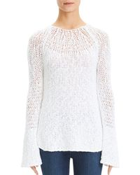Theory - Boat-neck Knit Flare-sleeve Pullover Jumper - Lyst