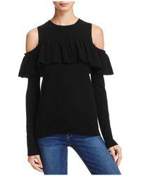 Aqua | Cashmere Ruffle Cold Shoulder Sweater | Lyst
