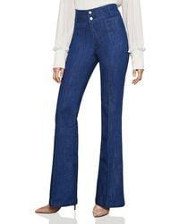 BCBGMAXAZRIA - Pintuck Flared Jeans In Rinse Indigo - Lyst