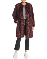 Maximilian - Feathered Fox Fur Coat With Leather Trim - Lyst
