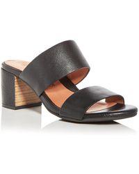 Gentle Souls - Women's Cherie Leather Block Heel Slide Sandals - Lyst