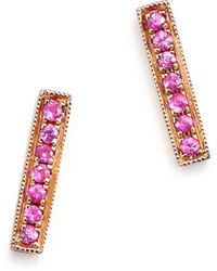 Dana Rebecca - 14k Rose Gold Bar Stud Earrings With Pink Sapphire - Lyst