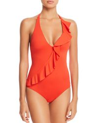 Ralph Lauren - Lauren Beach Ruffle Halter One Piece Swimsuit - Lyst