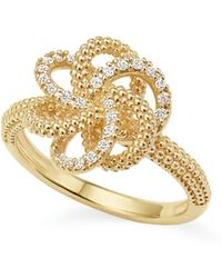 Lagos - 18k Yellow Gold Love Knot Ring With Diamonds - Lyst