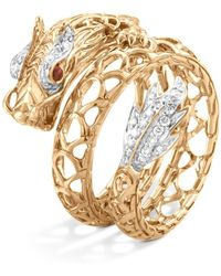John Hardy - 18k Yellow Gold Legends Naga Diamond Pavé Dragon Coil Ring With Ruby Eyes - Lyst
