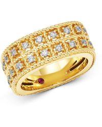 Roberto Coin - 18k Yellow Gold Byzantine Barocco Diamond Two-row Ring - Lyst