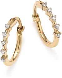 Adina Reyter - 14k Yellow Gold 5-diamond Huggie Hoop Earrings - Lyst