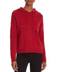 Aqua - Distressed Hooded Sweater - Lyst