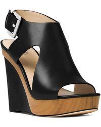 87e10722620 MICHAEL Michael Kors - Women s Josephine Leather Platform Wedge Sandals -  Lyst