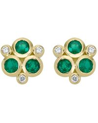 Temple St. Clair - 18k Yellow Gold Classic Triple Stone Emerald And Diamond Earrings - Lyst