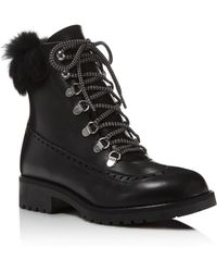 Charles David - Rugby Leather And Rabbit Fur Lace Up Booties - Lyst