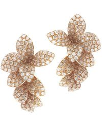 Pasquale Bruni - 18k Rose Gold Stelle In Fiore White & Champagne Diamond Drop Earrings - Lyst