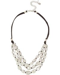 "Robert Lee Morris - Silver-tone Bead & Wax Cord Multi-row Statement Necklace, 18"" + 3"" Extender - Lyst"
