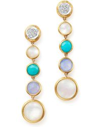 Marco Bicego - 18k Yellow Gold Jaipur Multi Stone Drop Earrings With Diamonds - Lyst