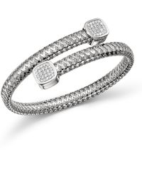 Roberto Coin - 18k White Gold Primavera Diamond Capped Bypass Bangle - Lyst