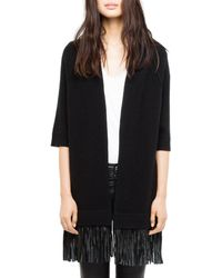 Zadig & Voltaire - Paloma Leather Cardigan - Lyst